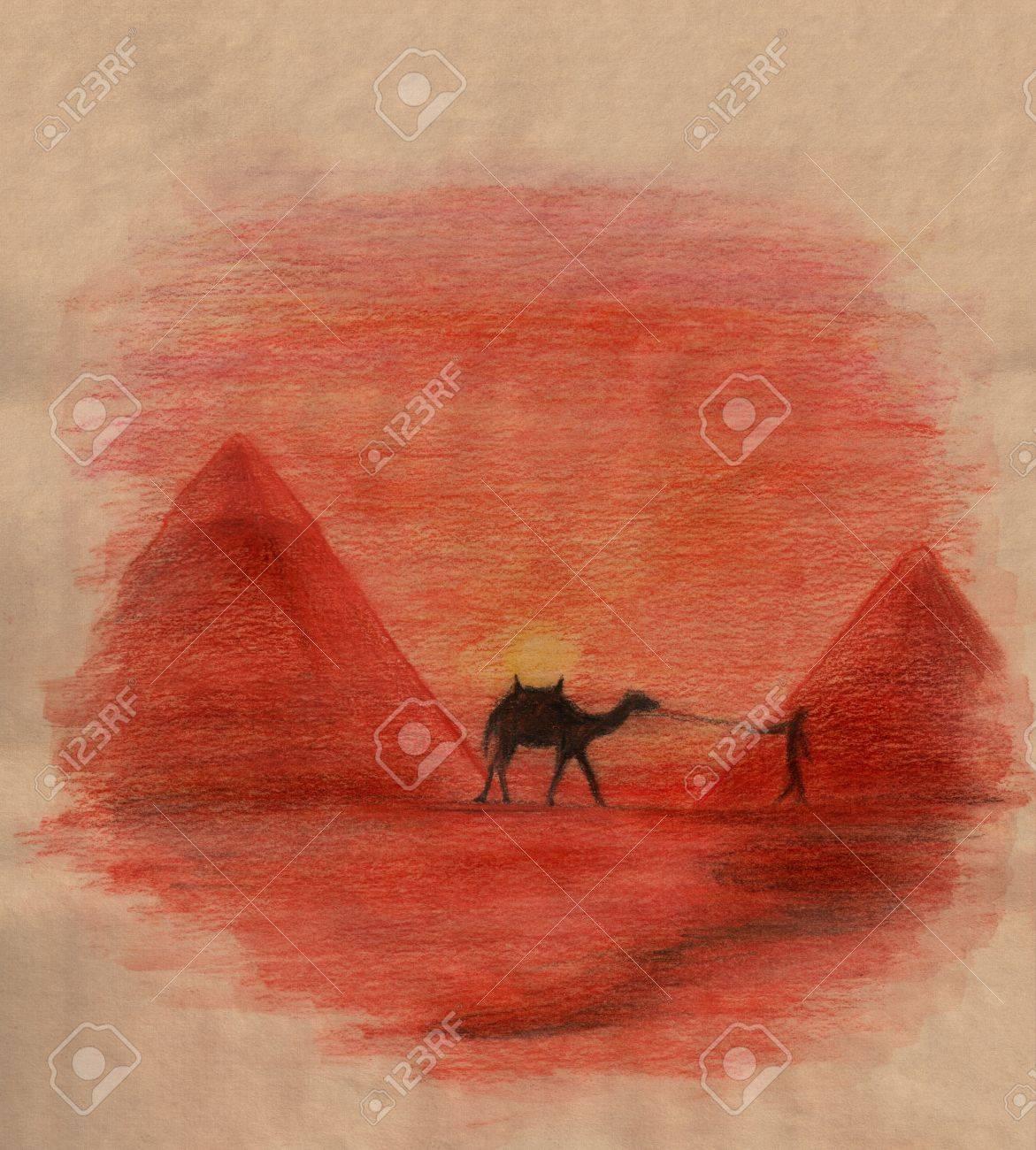 Paysage Traditionnel Egyptien Avec Des Pyramides De Chameau Et