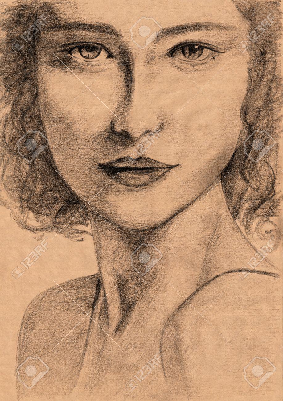 Super Portrait De La Renaissance Femme De Style - Dessin Au Crayon à  UB98