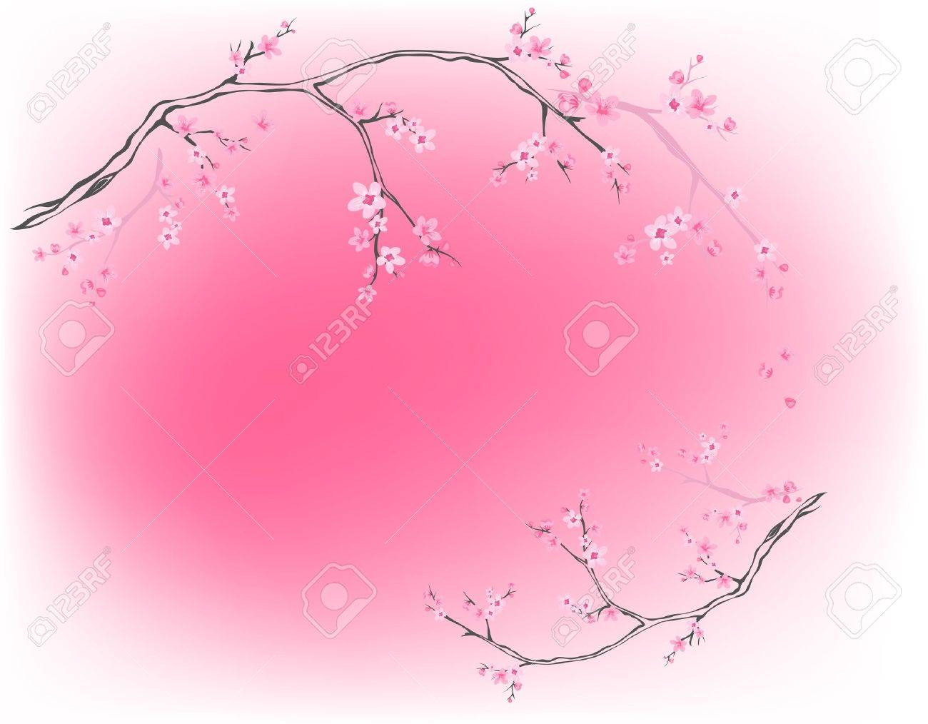 blooming trees against pink - spring background Stock Vector - 12834769
