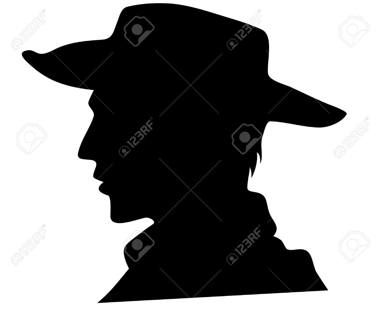 cowboy head illustration - black outline over white Stock Vector - 12957624