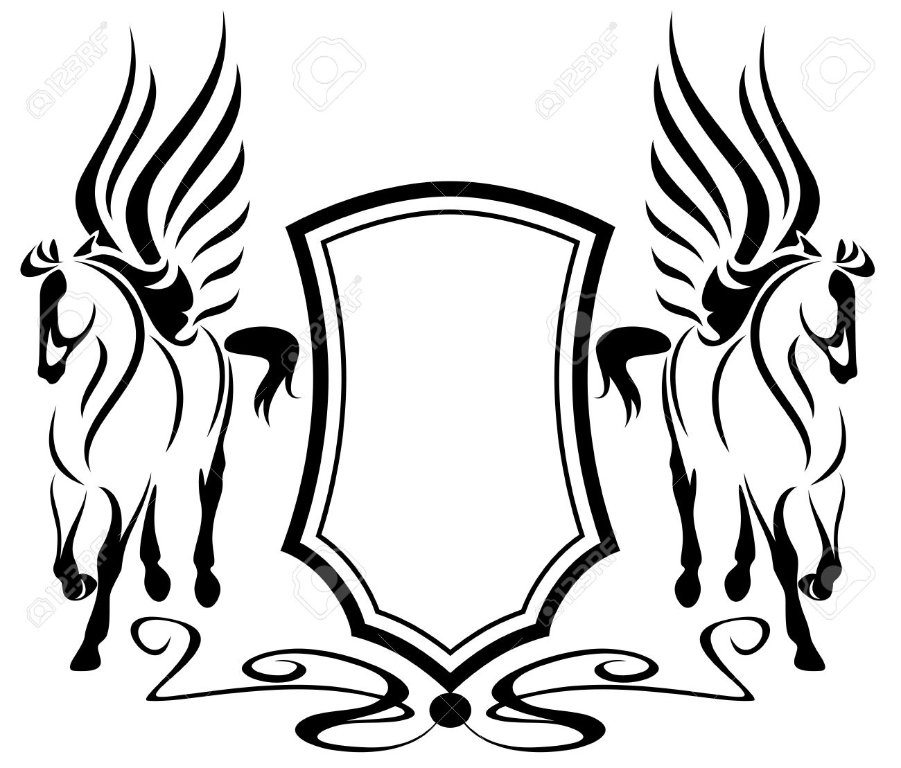 Beautiful pegasus with heraldic shield symbols of inspiration beautiful pegasus with heraldic shield symbols of inspiration in greek mythology stock vector 13013907 buycottarizona Images