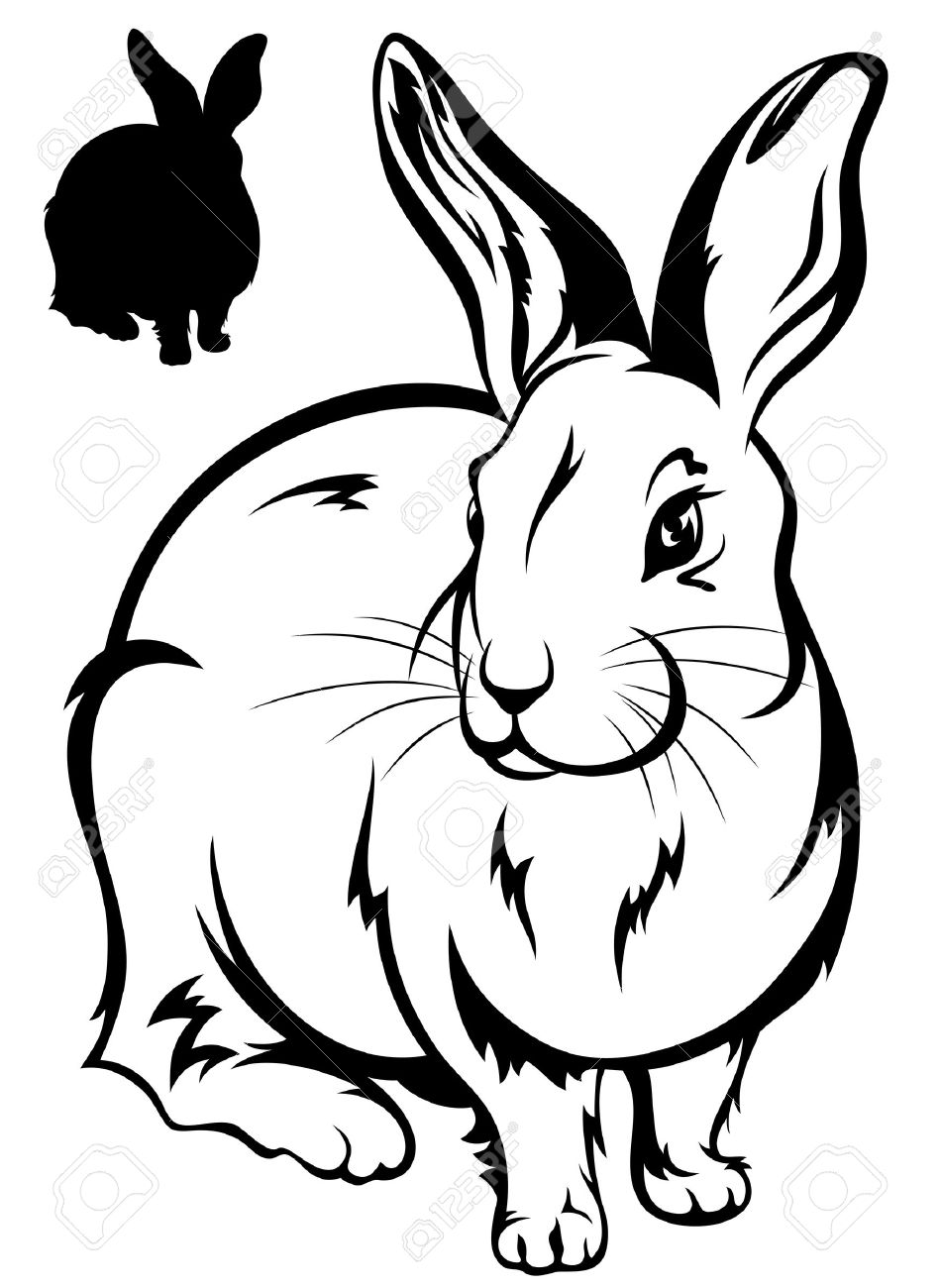Easter Rabbit Outline Stock Photos & Pictures. Royalty Free Easter ...