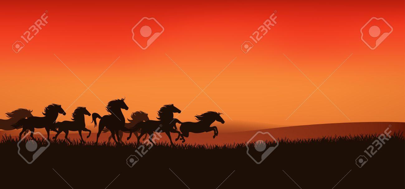 herd of running wild horses - editable illustration Stock Vector - 13677001