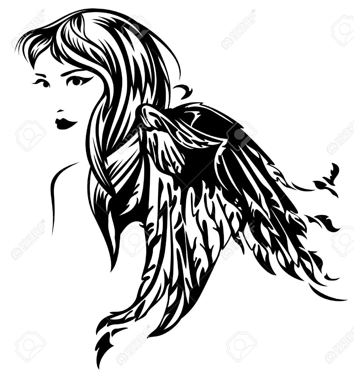 beautiful angel girl illustration - black and white profile portrait Stock Vector - 14318992