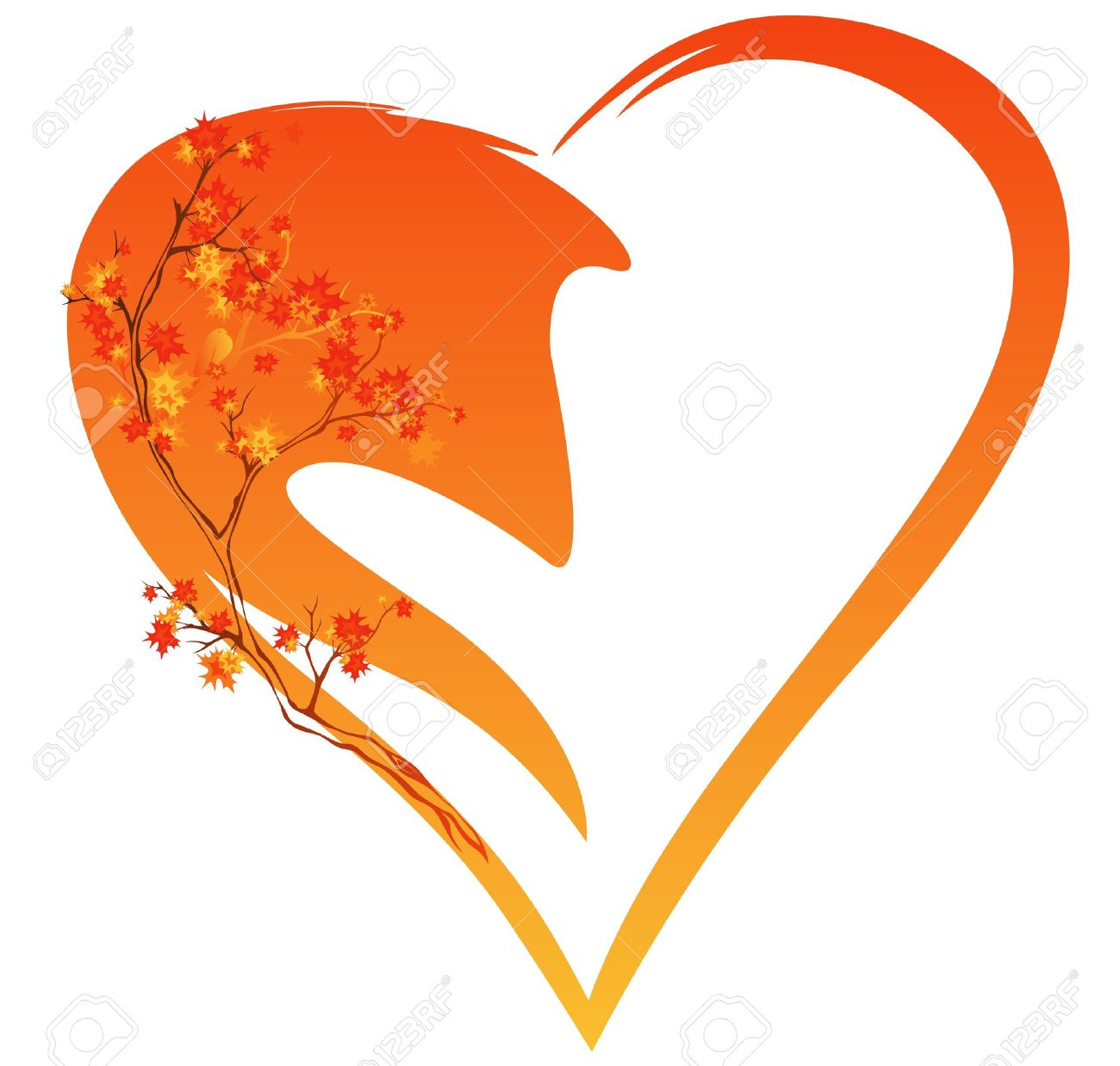autumn season decoration - yellow-red heart and tree branches vector illustration Stock Vector - 14920344