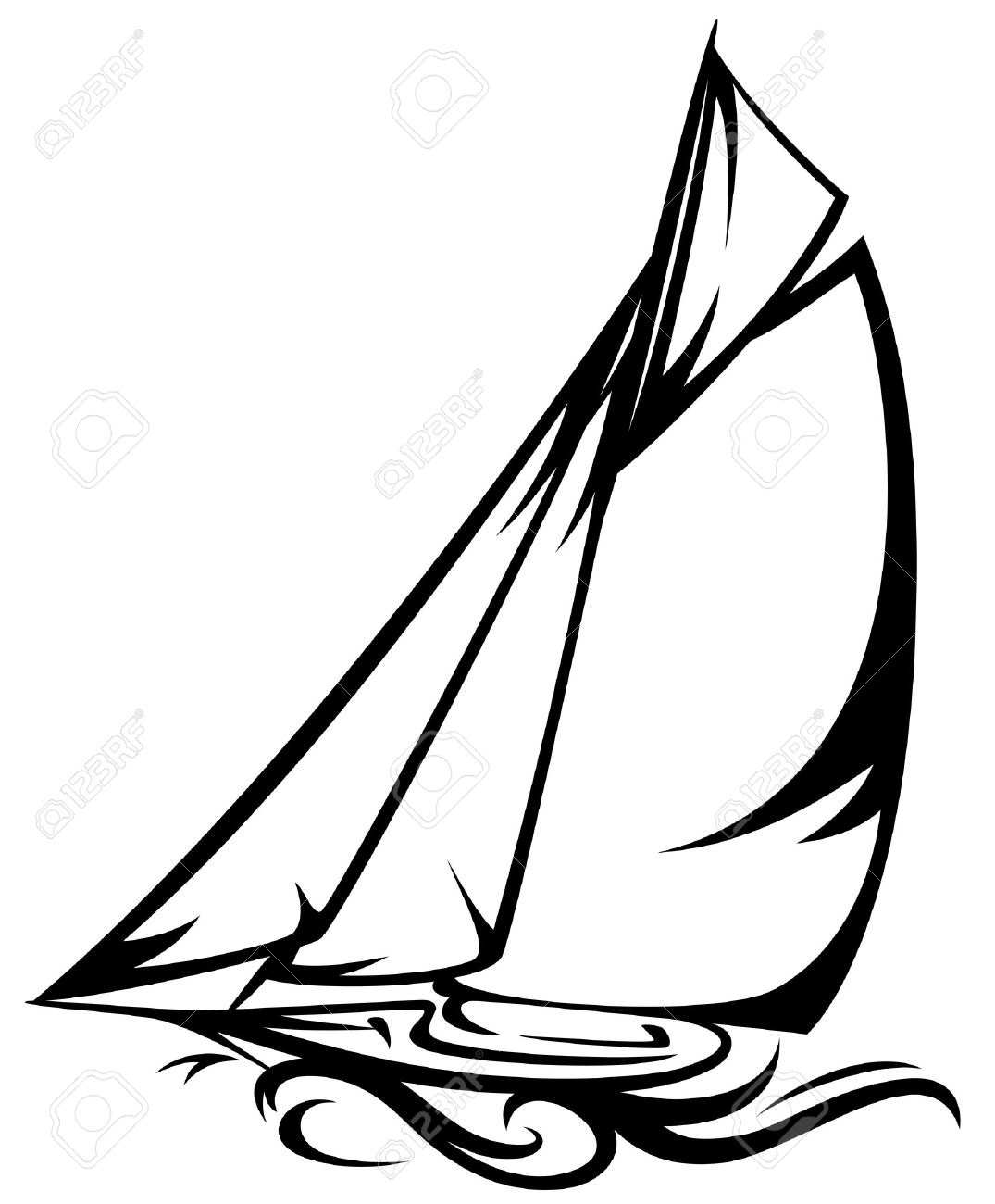 sailing yacht illustration black and white outline royalty free rh 123rf com