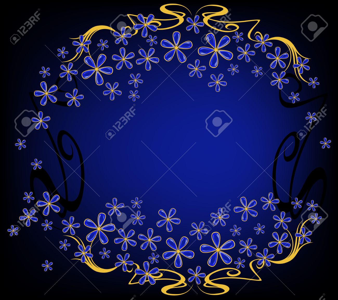 background with jewelry flowers - blue and gold against black Stock Vector - 16593871
