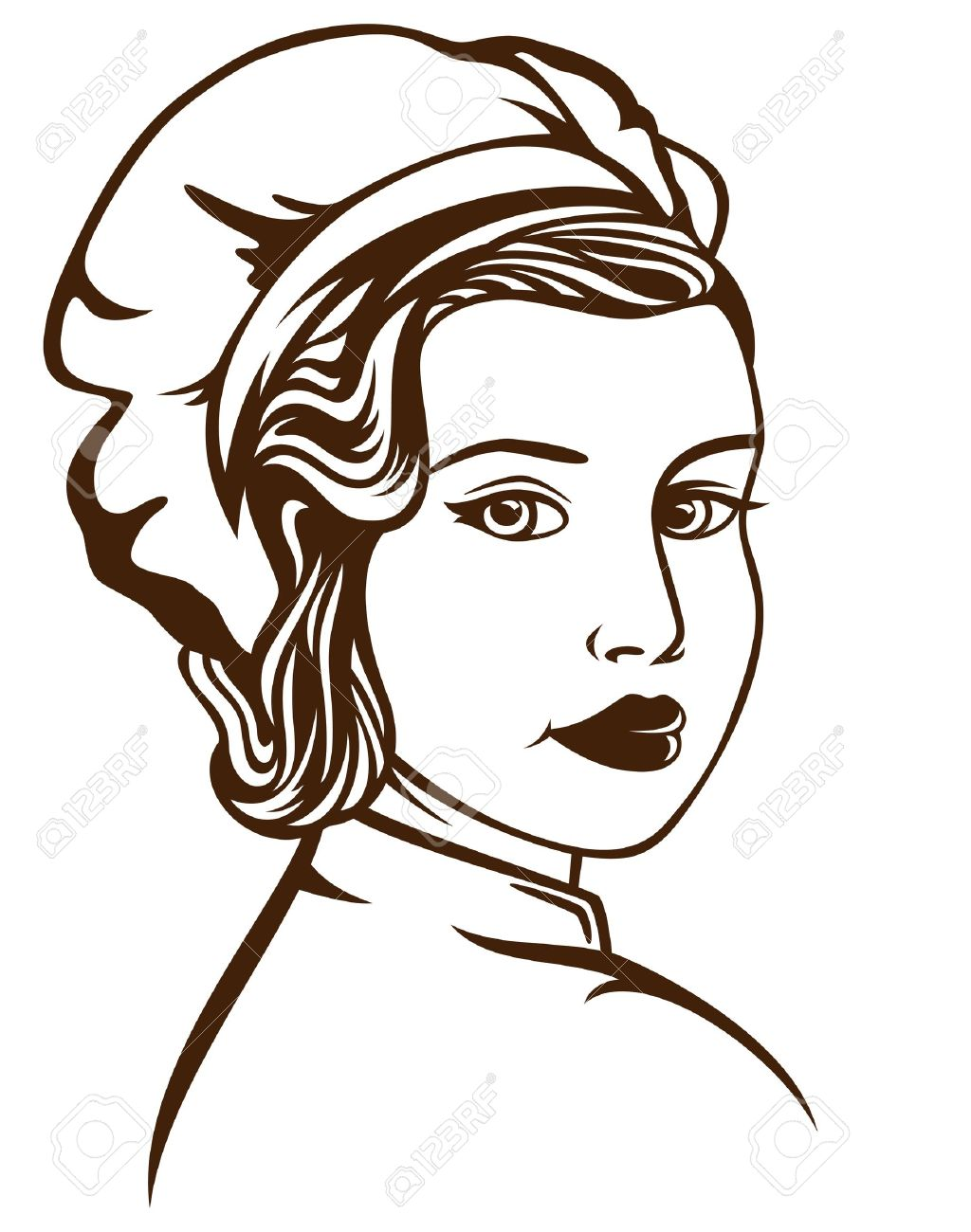 Retro Style Female Chef Vector Illustration - Monochrome Outline ...