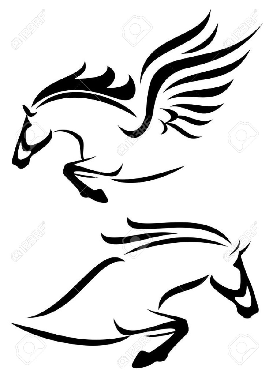 black and white outlines of jumping horse and pegasus royalty free rh 123rf com pegasus clipart black and white pegasus wings clipart