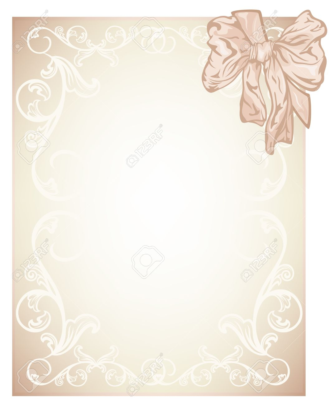 Wonderful Elegant Beige Blank For Wedding, Invitation Or Certificate Card Design With  Silk Bow   Illustration