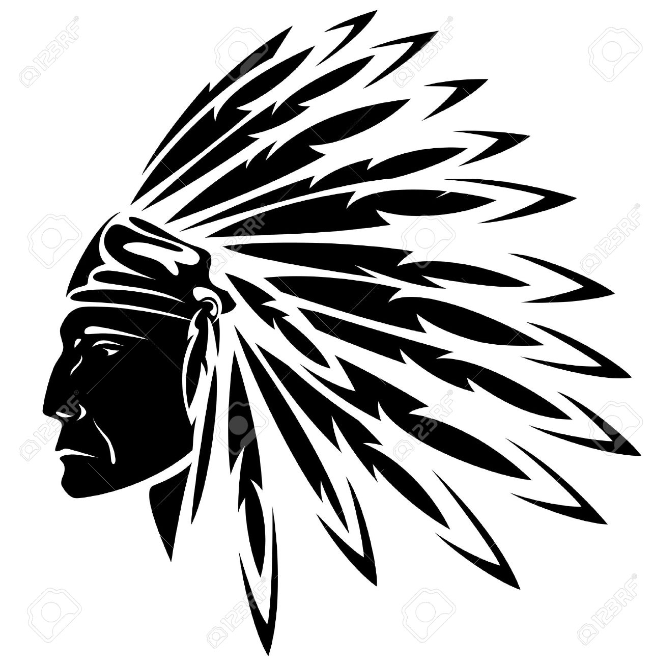 red indian chief black and white illustration royalty free cliparts rh 123rf com  indian headdress clipart black and white