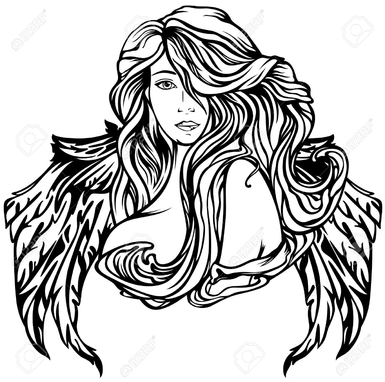 Art nouveau style angel vector illustration black and white winged woman outline stock vector