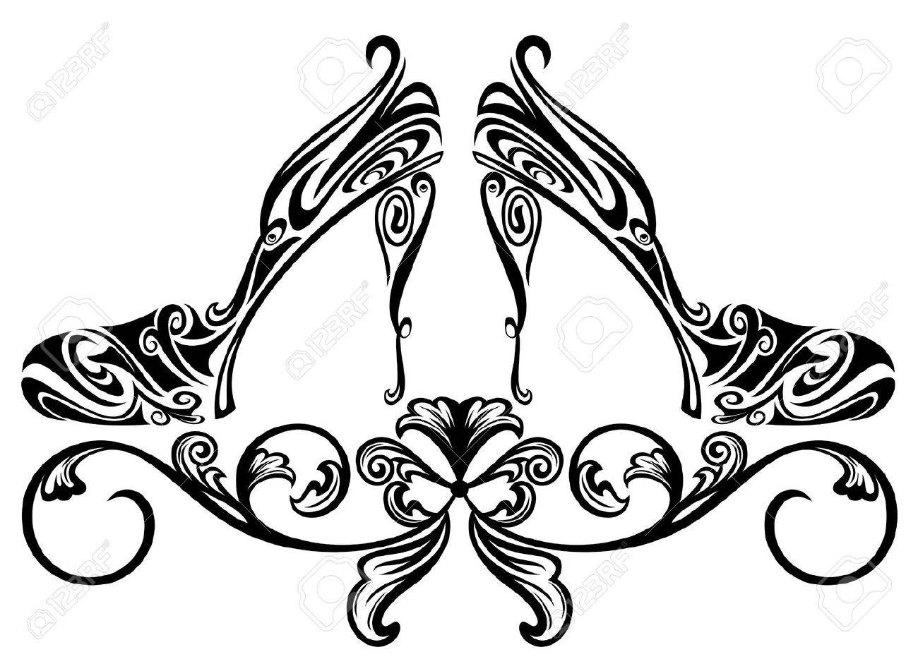 ornate shoes design element - black and white floral swirls vector illustration Stock Vector - 17853004