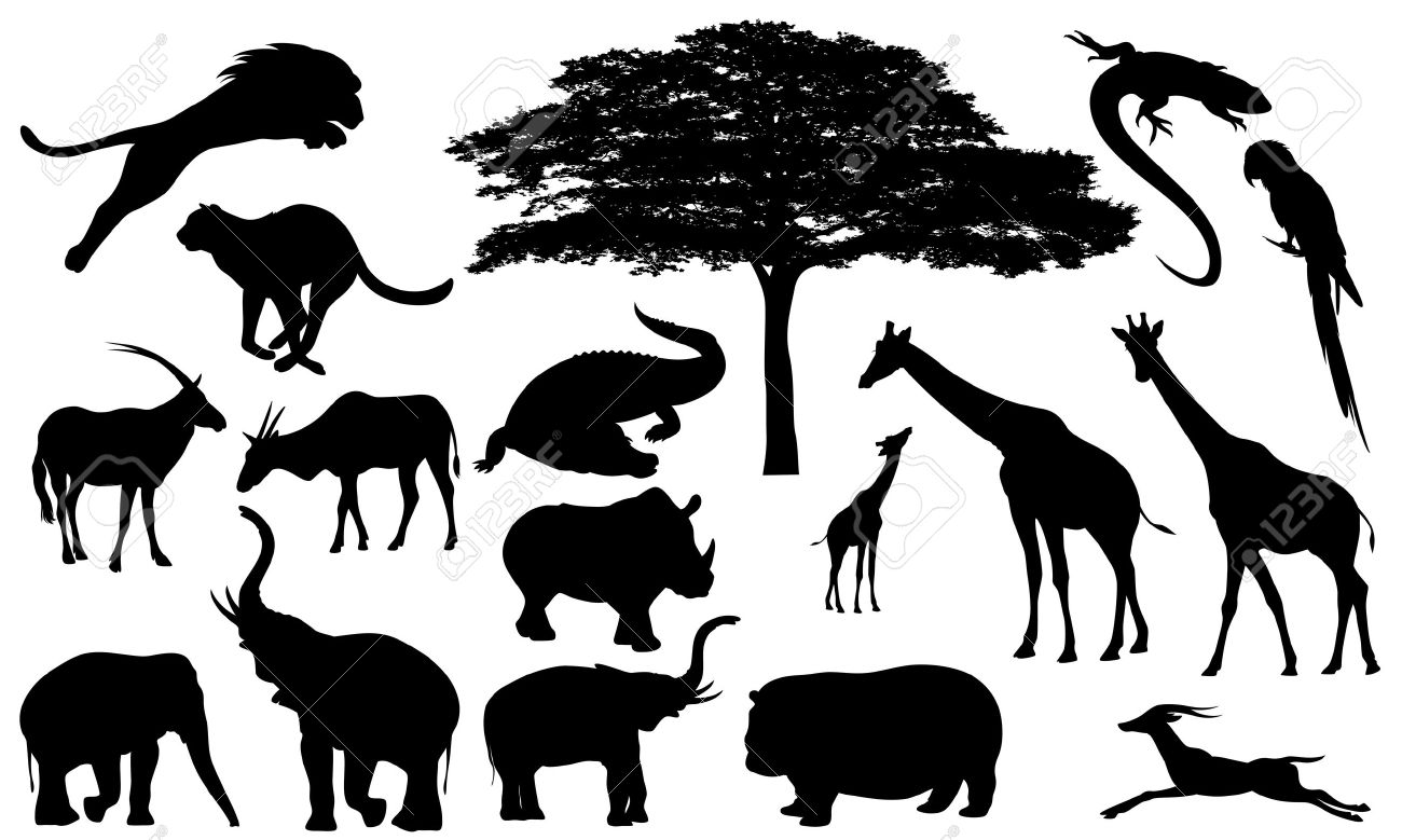African Wildlife Fine Vector Silhouettes - Black And White Fauna ...