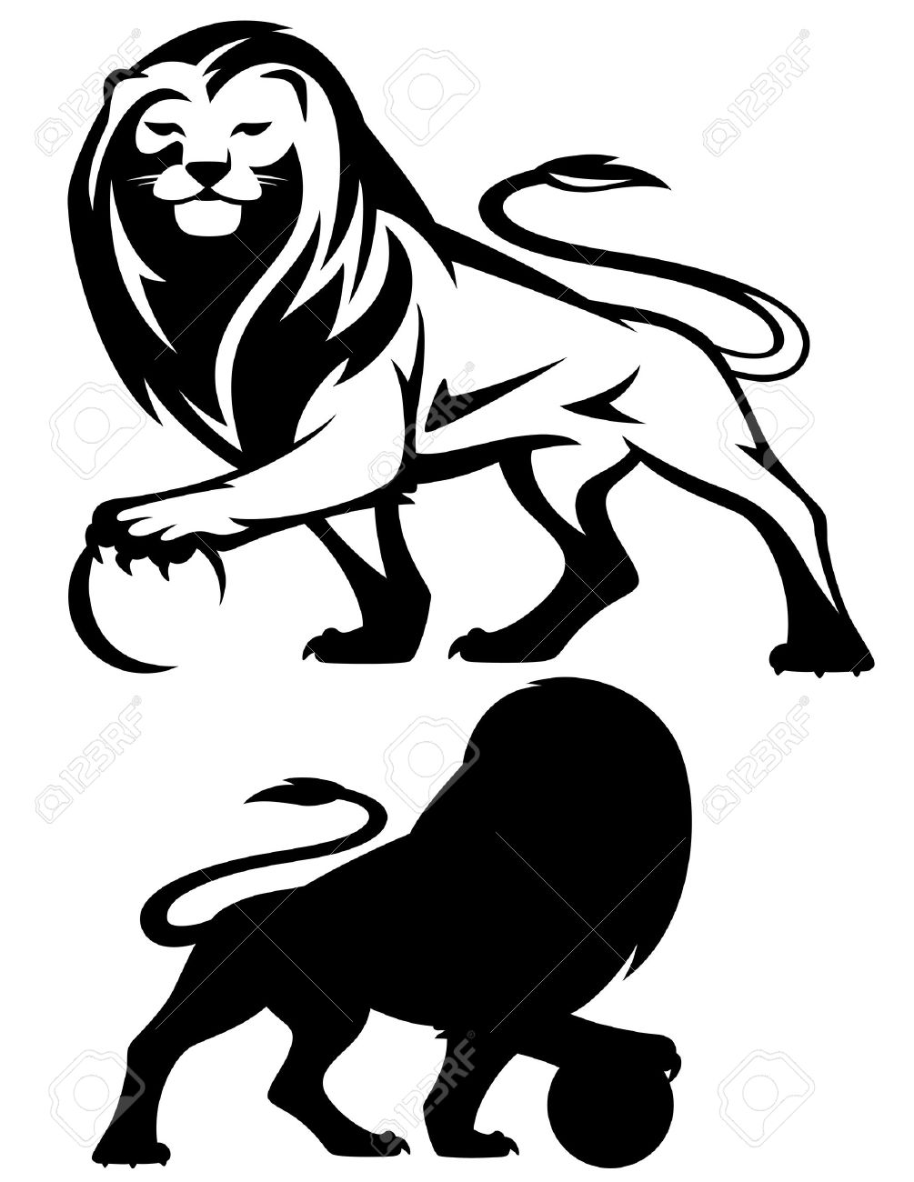 lion holding a ball - vector illustration - black and white outline and silhouette Stock Vector - 18302394