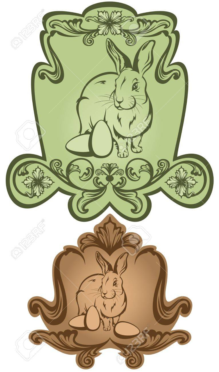 vintage style labels - easter bunny with eggs - in shades of green and brown Stock Vector - 18377068