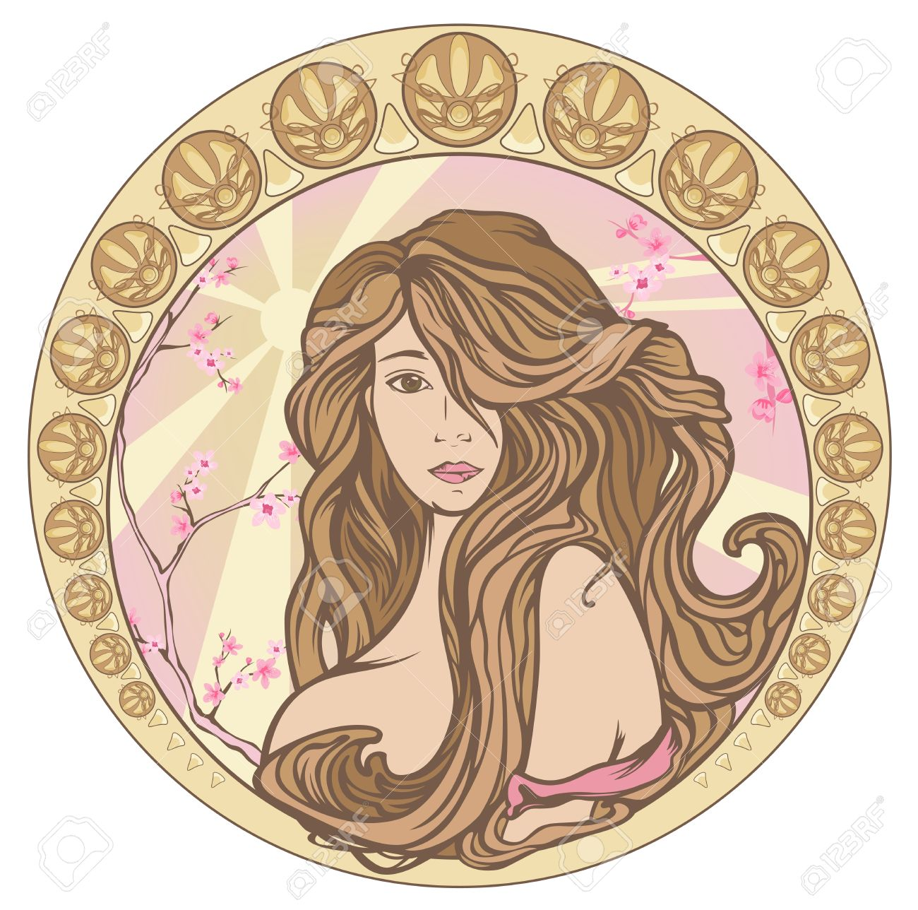 Spring Time Art Nouveau Style Pastel Shades Portrait Beautiful Royalty Free Cliparts Vectors And Stock Illustration Image 18934931