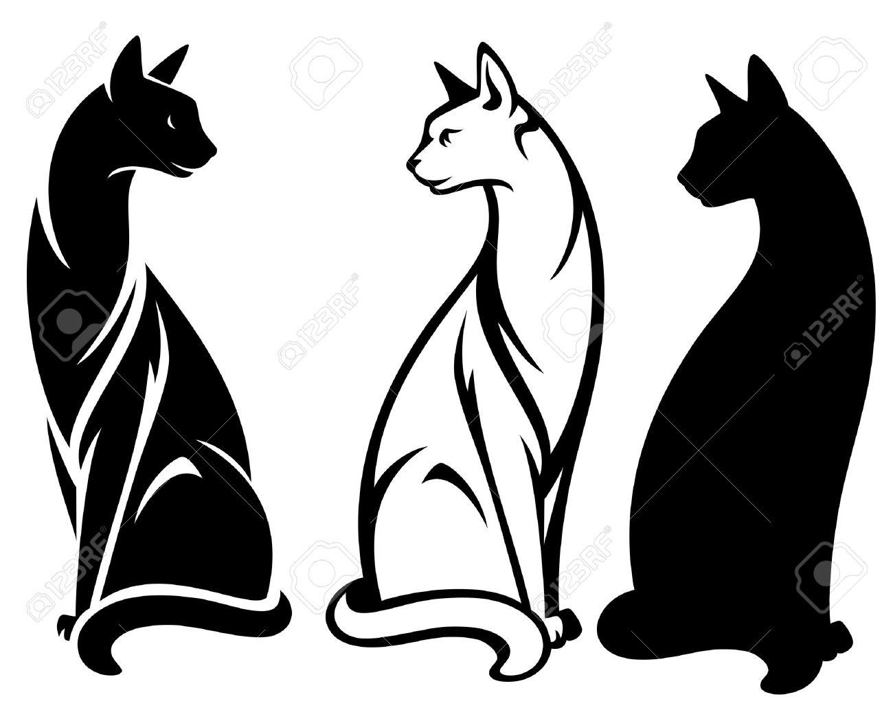 elegante gatos sentados diseño vectorial - contorno y la silueta en blanco y negro Foto de archivo - 19621003