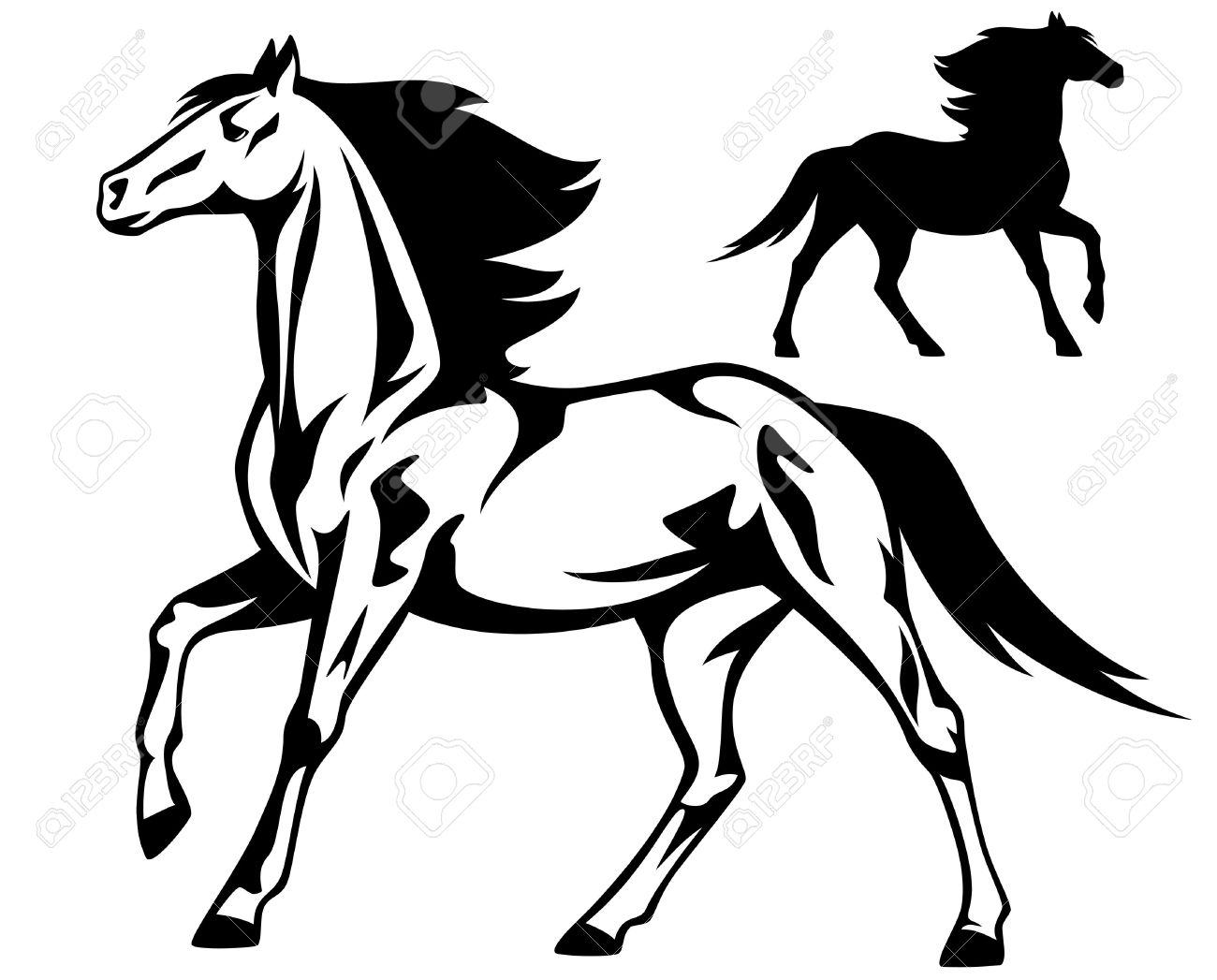 Running Horse Black And White Vector Outline And Silhouette Royalty Free Cliparts Vectors And Stock Illustration Image 19621007