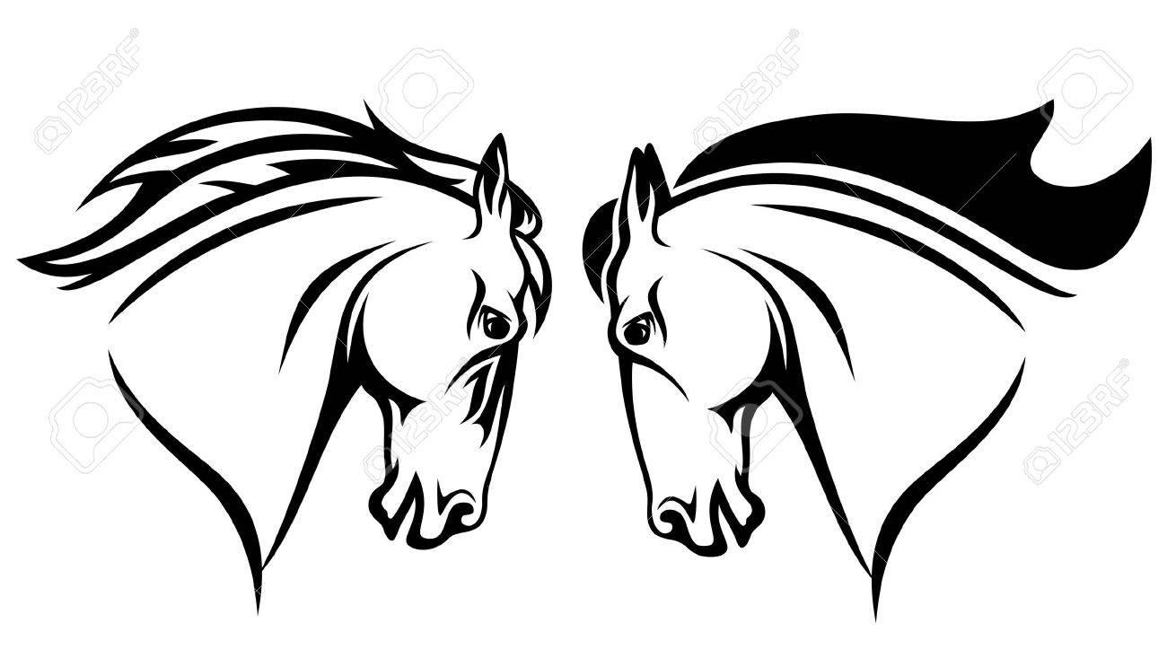 horse head vector design black and white outline royalty free rh 123rf com horse head vector free download horse head vector free