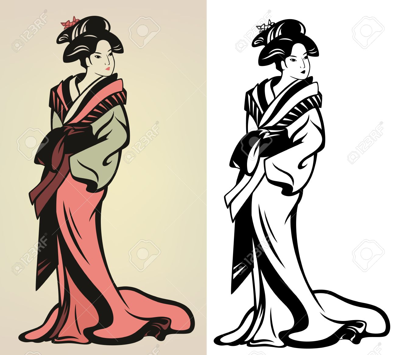 Color and art - Vector Traditional Japanese Geisha Illustration In Color And Monochrome