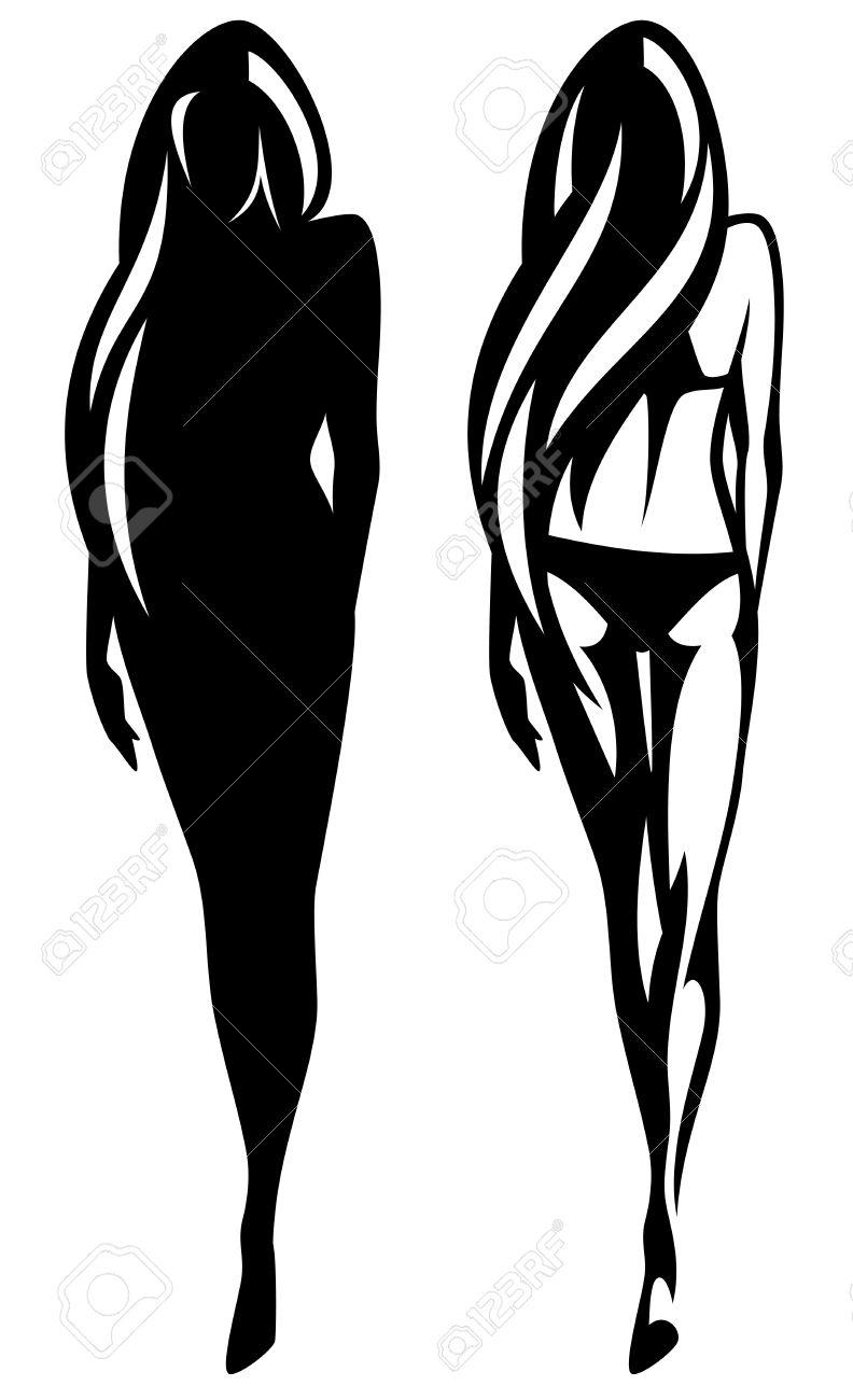 Girl Silhouette Outline Wiring Diagrams Metal Detector Circuit Diagram Measuringandtestcircuit Beautiful Slim And Royalty Free Cliparts Rh 123rf Com Standing