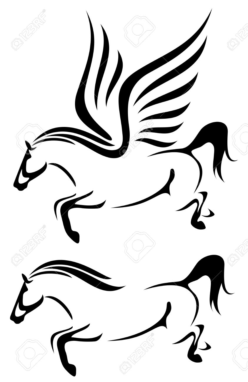 Black Pegasus Horse Flying
