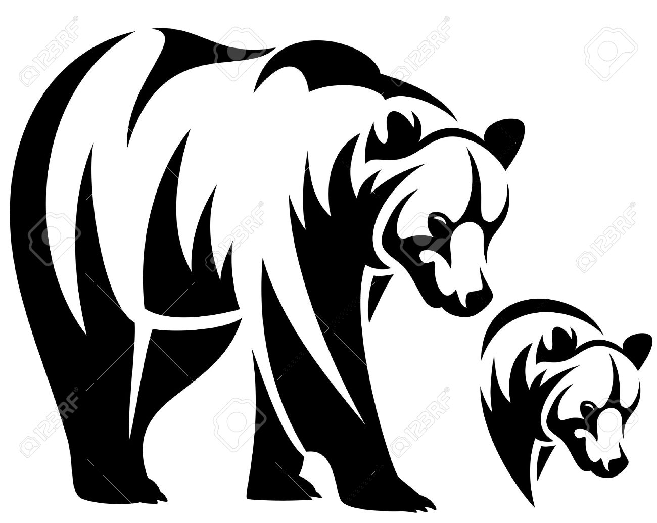 walking bear and animal head black and white outline emblem royalty rh 123rf com