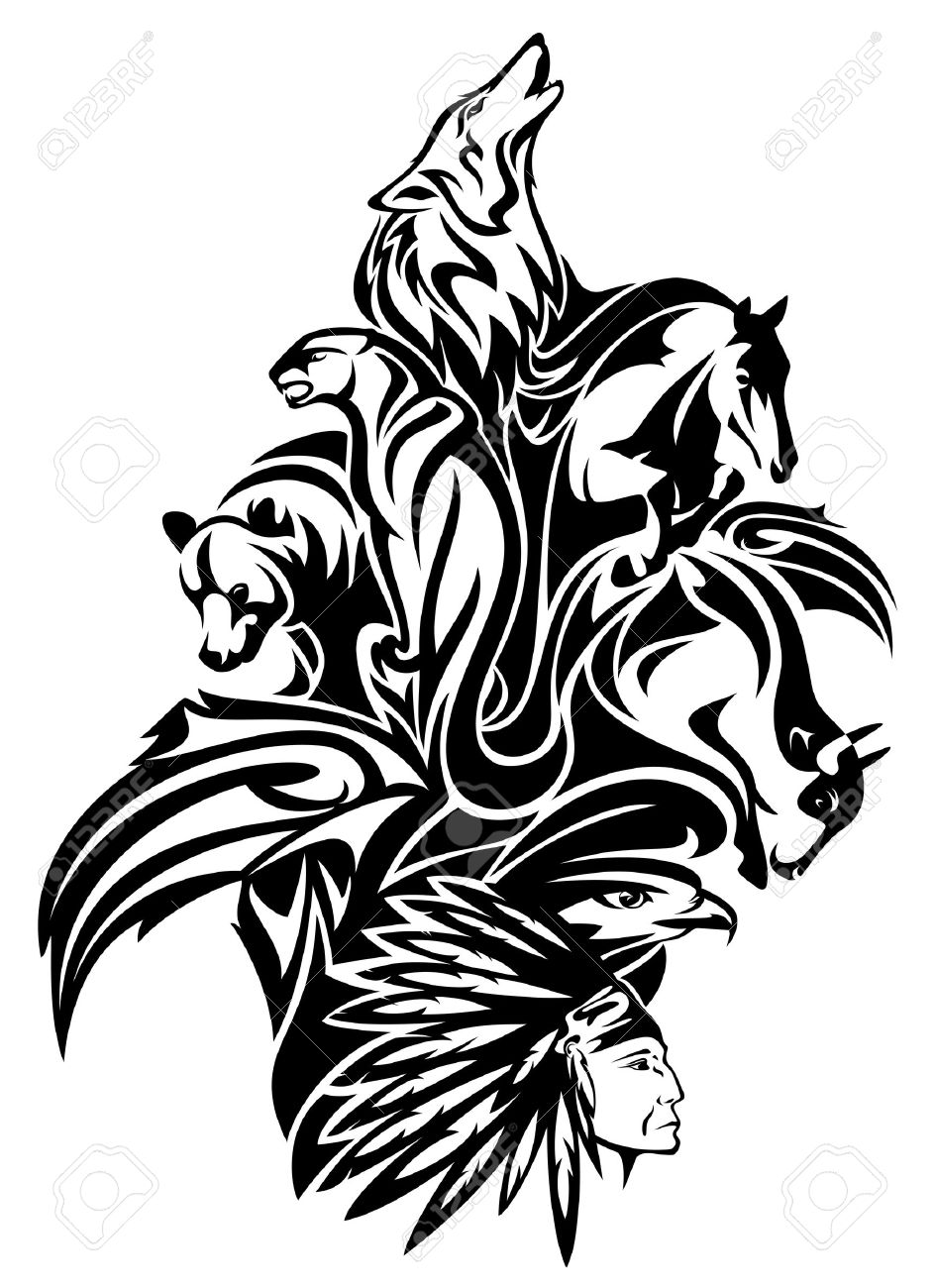 25b1f040f Native American chief with animal spirits design - black and white tribal  composition Stock Vector -
