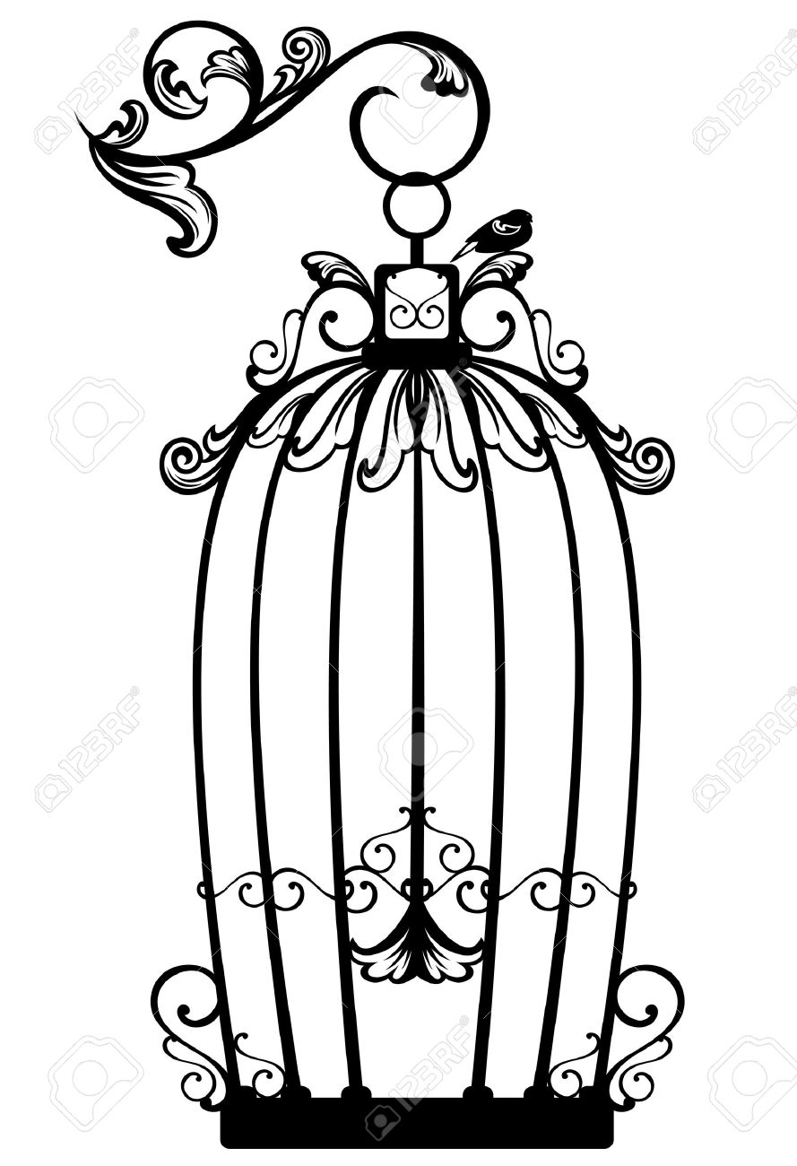 vintage looking open birdcage with a free bird black and white
