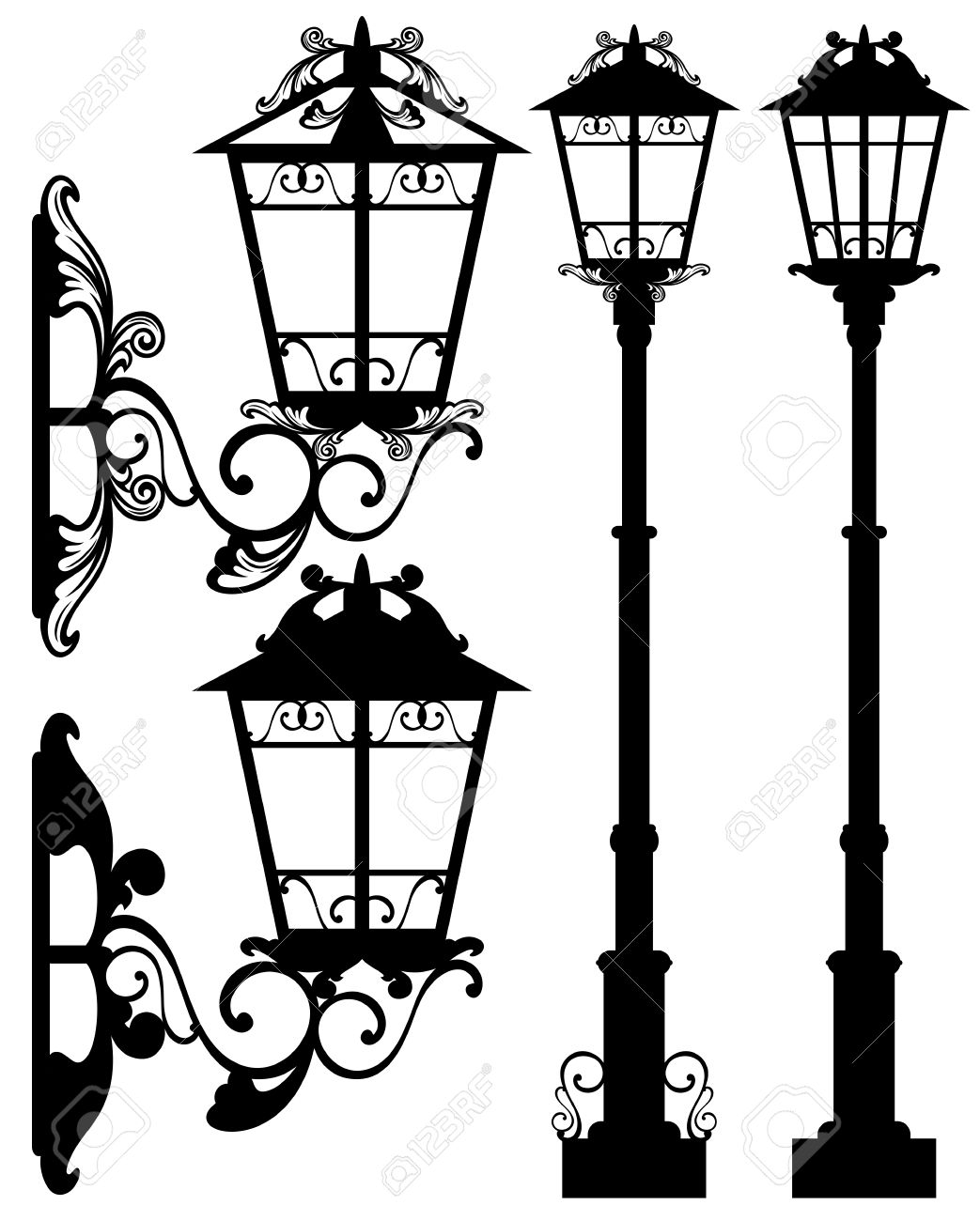 Antique Street Light Silhouettes And Detailed Black And White ... for Old Lamp Clipart  111bof