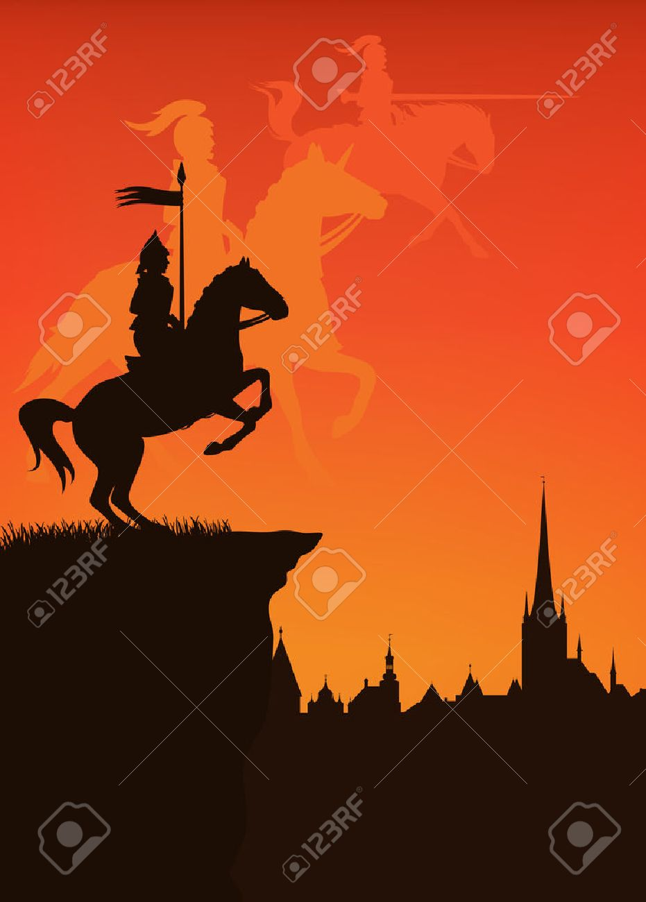 medieval times town with knight and shadow silhouettes of guards at the sunset - 25550384
