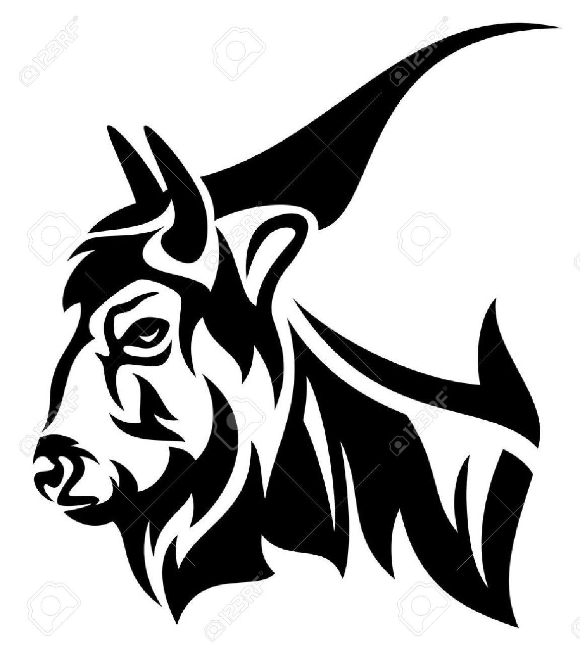 bison profile head design - black and white vector outline - 26362901