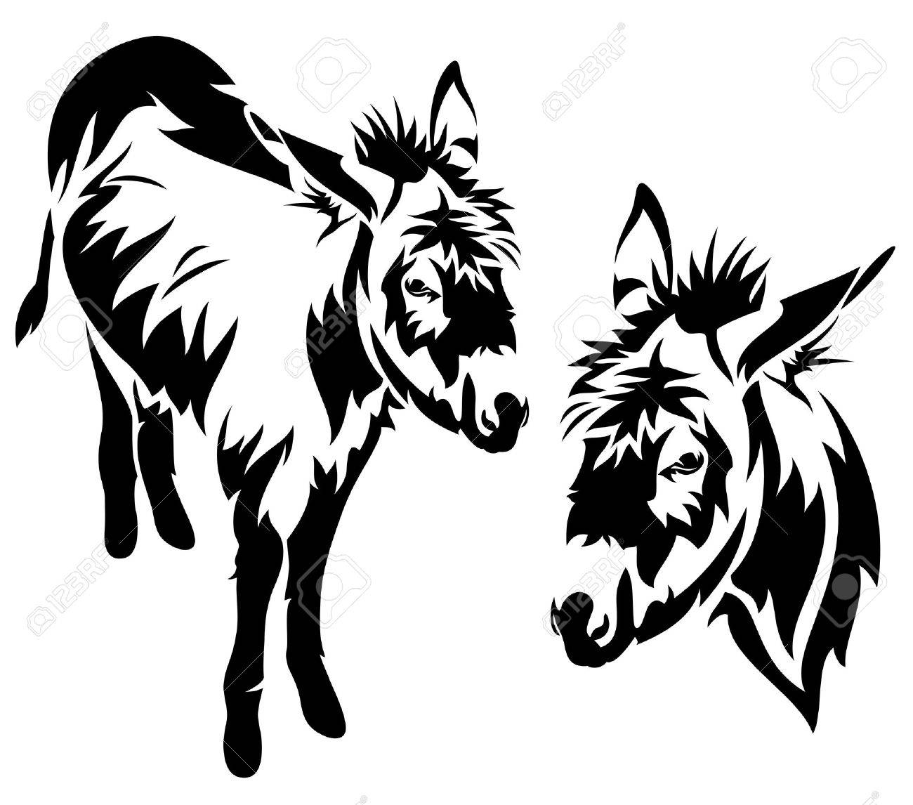 cute donkey vector outline - black and white standing animal - 26362911