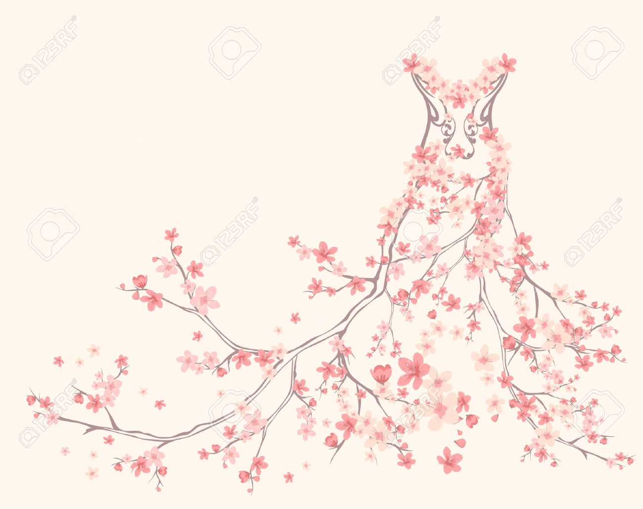 spring season dress made of tender pink flower branches - 26362909