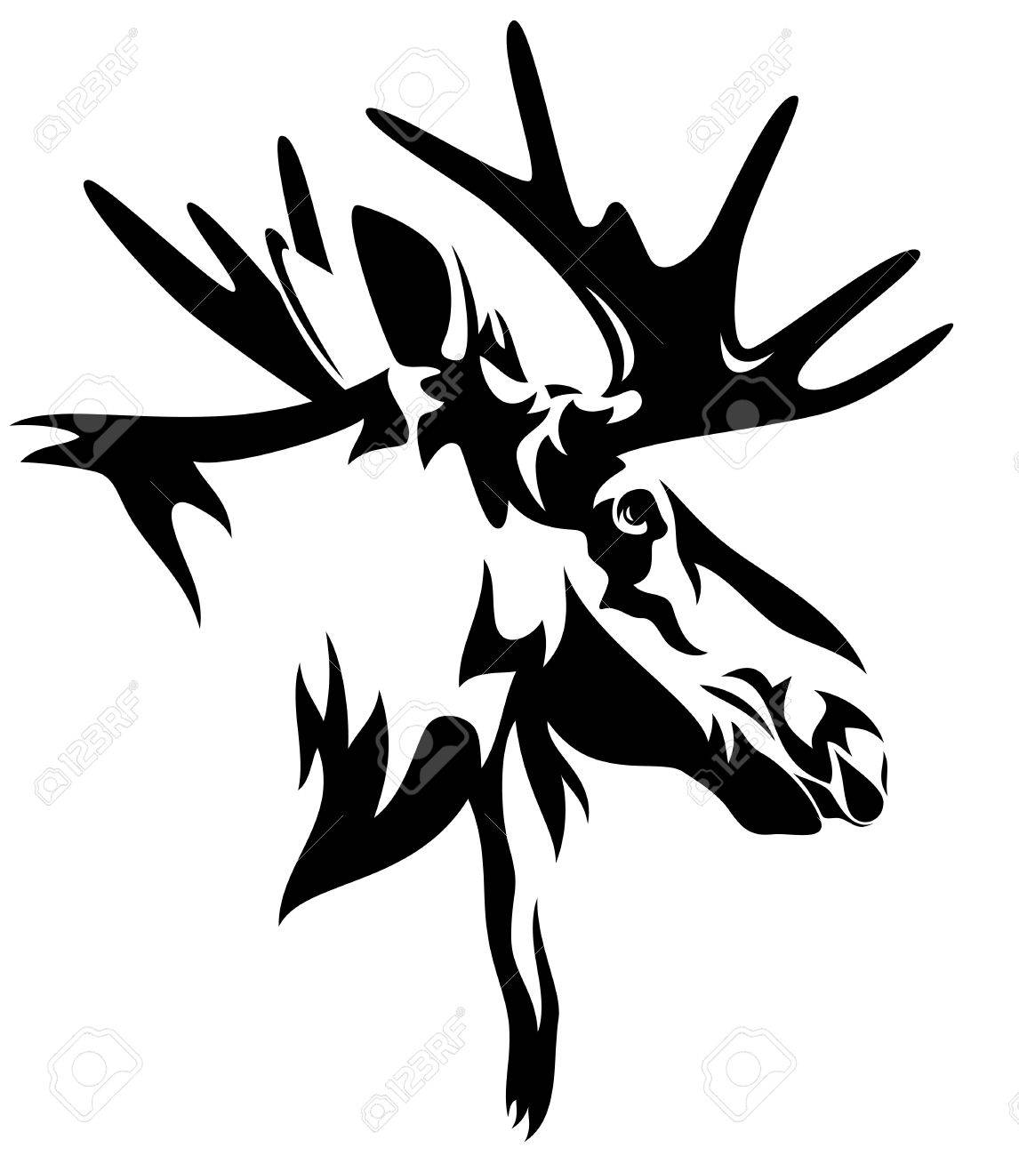 moose or elk Alces alces head black and white design - realistic animal outline - 27439259