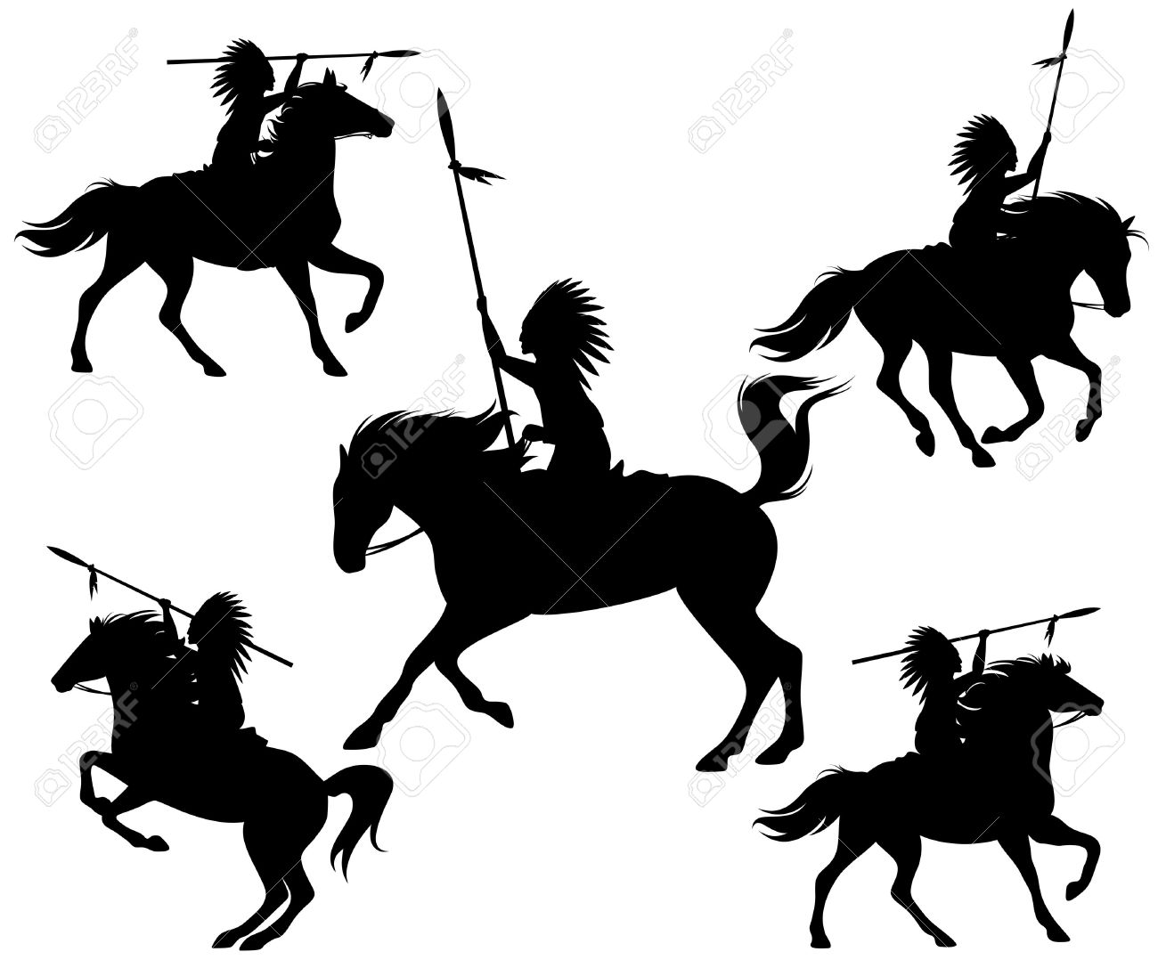 wild west silhouettes - native american warriors riding horses - 27443997