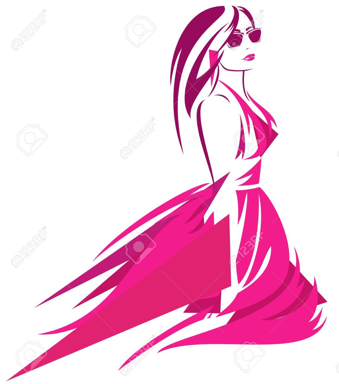 Fashion Woman In Bright Pink Dress Modern Art Vector Design ...