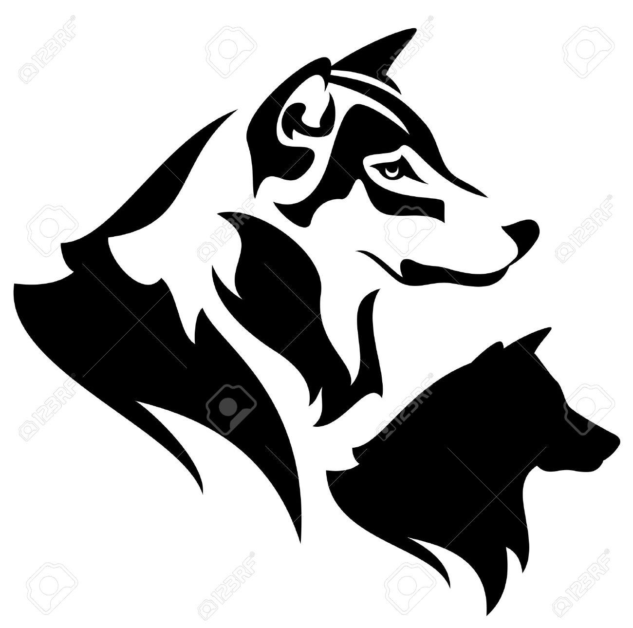 Perfil Lobo Esbozo Y La Silueta Diseño En Blanco Y Negro