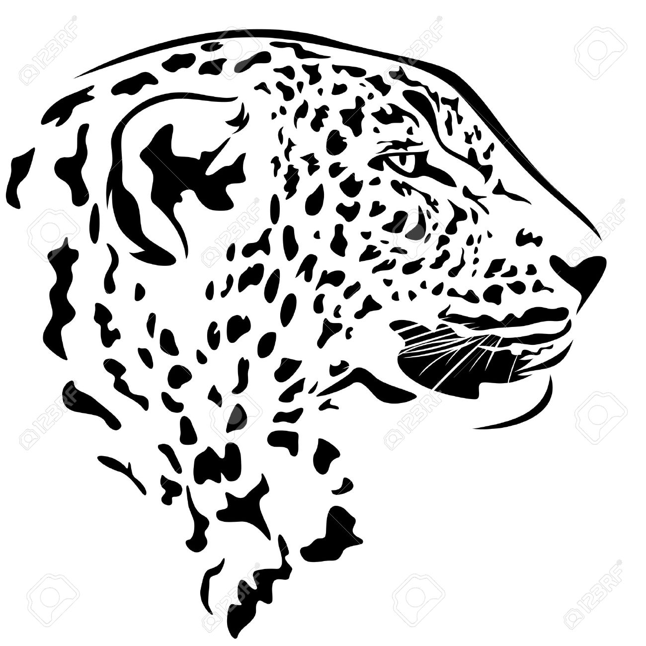 leopard head profile design - black and white animal outline - 27446330