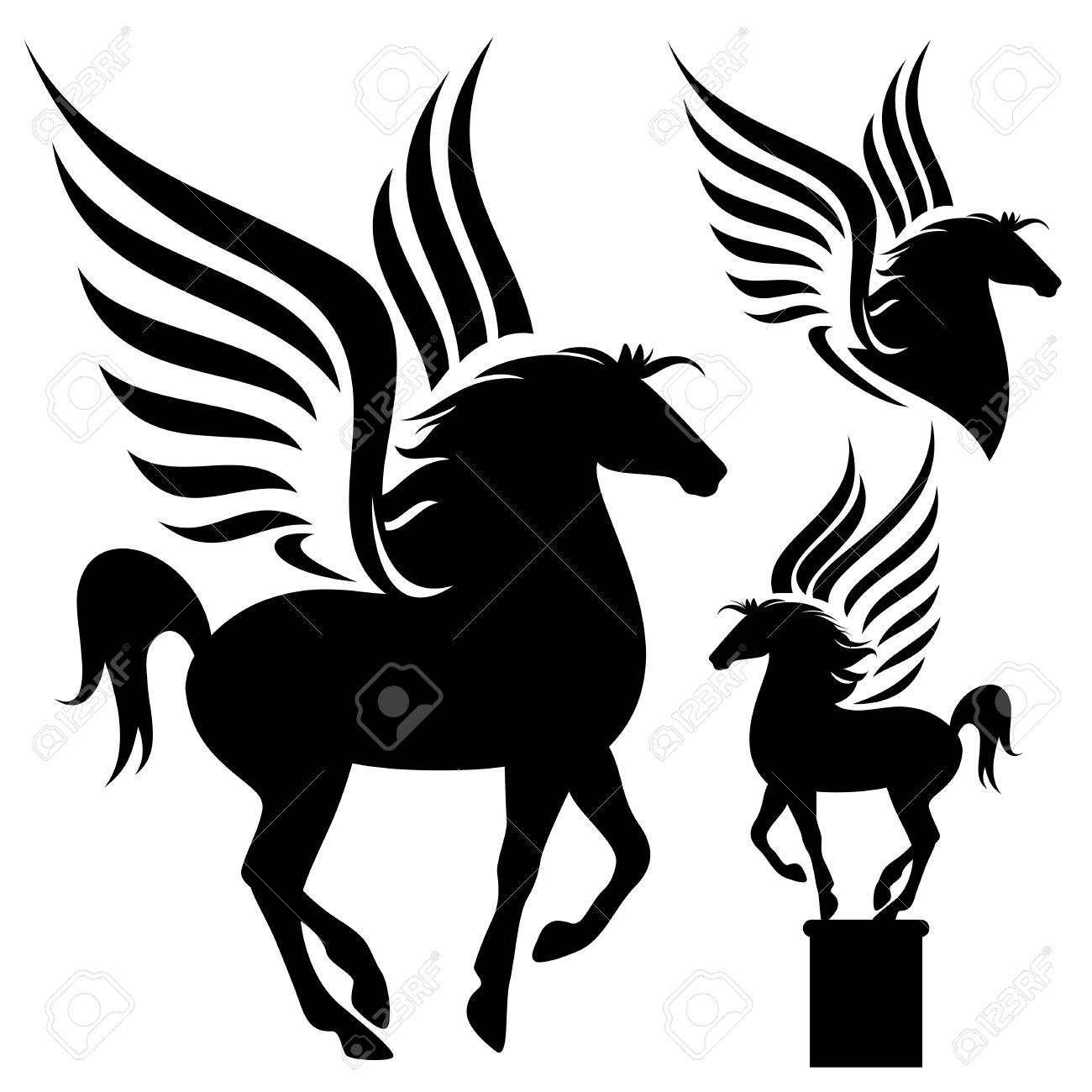 pegasus silhouette set - black winged horses on white - 27447263