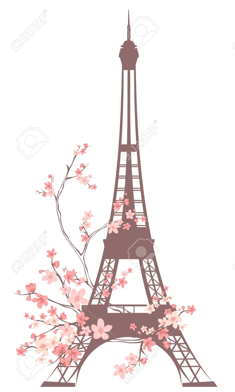 Vector - eiffel tower outline Eiffel Tower Silhouette Pink