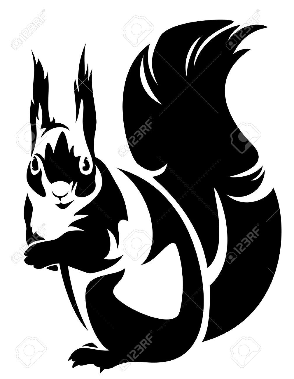 sitting squirrel (sciurus) - black and white outline - 28070678