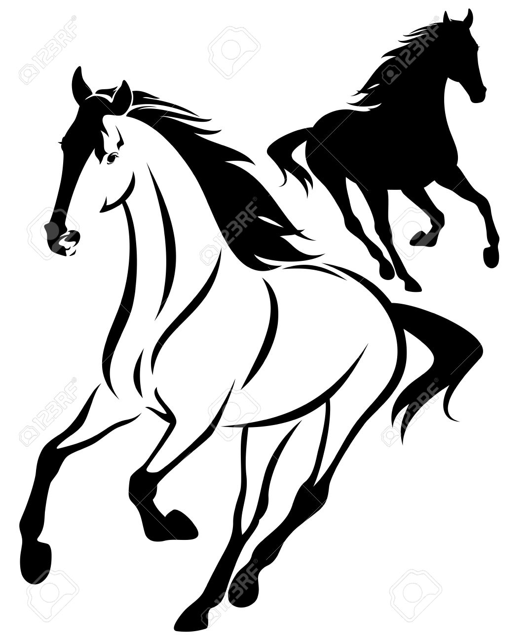 horse black and white outline and silhouette - running animal design - 28247581