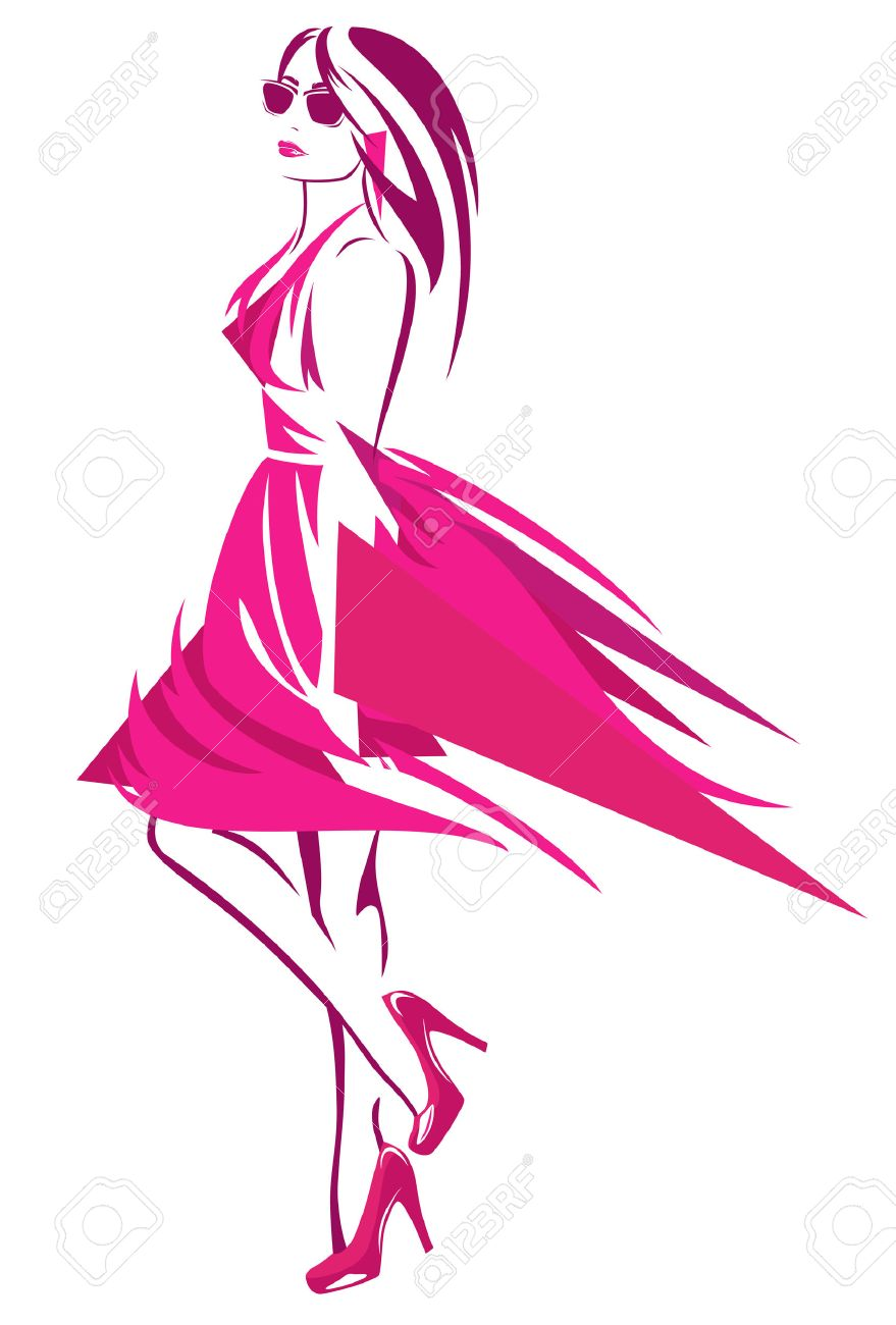beautiful woman wearing bright pink dress and high heeled shoes - fashion girl abstract design - 28402001