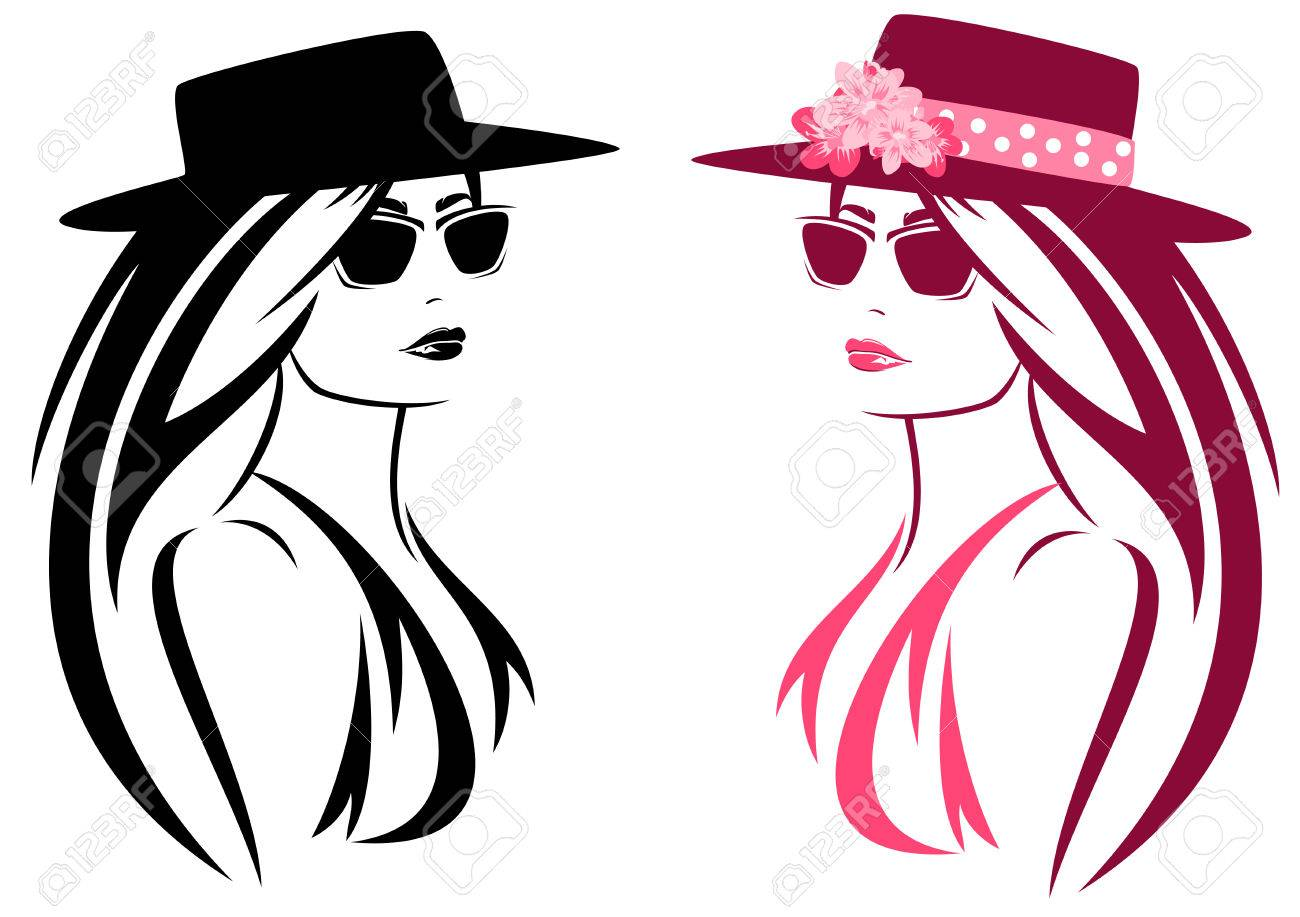beautiful woman with long hair wearing summer hat decorated with flowers - 29291143