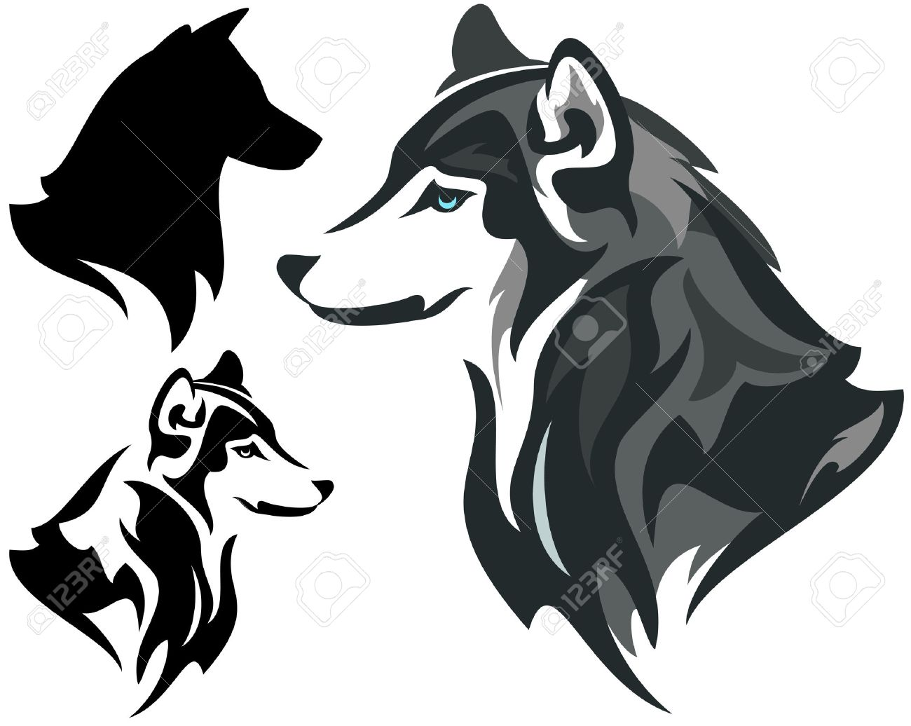 husky dog design - animal head side view illustration in color and monochrome plus silhouette - 29291364