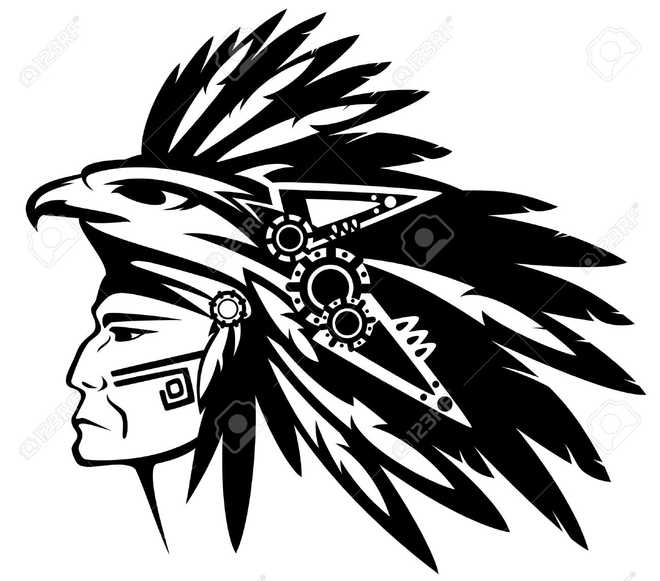 aztec tribe warrior wearing feather headdress with eagle profile head - black and white vector outline - 29291547