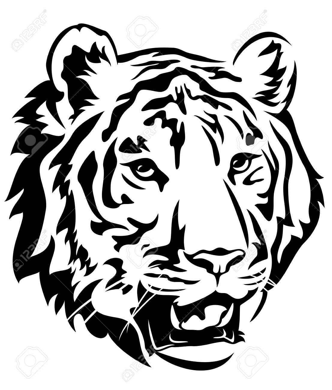 tiger head emblem design - big cat black and white vector outline - 29291766
