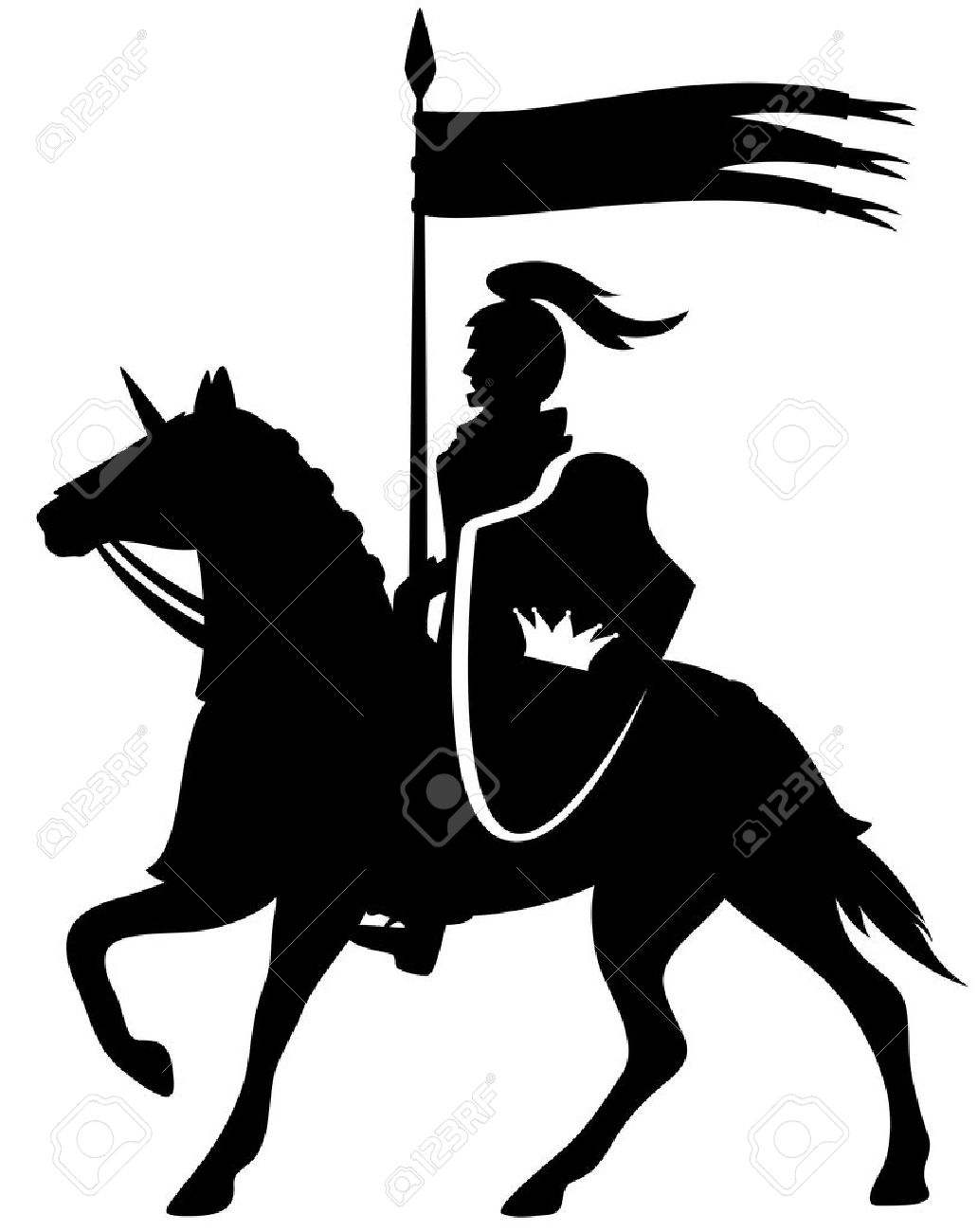 royal knight with a crown shield riding a horse - black vector silhouette on white - 29291904